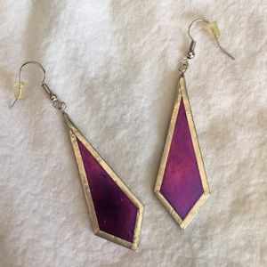 Beautiful Pink Stained Glass Earrings